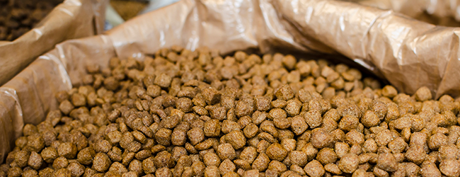 Close up of brown feed pellets in bulk