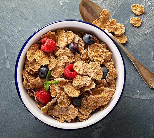 bowl of cornflakes and fruit