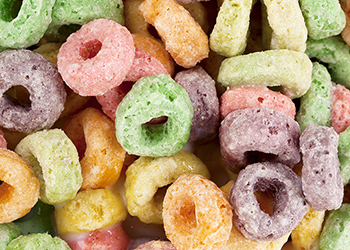 Close up of extruded cereals