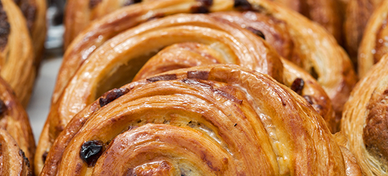 Close up of a tray of pastries